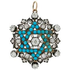 Victorian 15-18k Yellow Gold, Silver, Diamond & Persian Turquoise Star of David