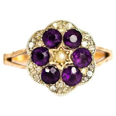 Victorian 15 Carat Gold Amethyst, Diamond and Pearl Cluster Ring