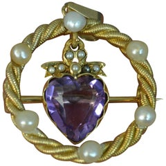Victorian 15 Carat Gold Amethyst Pearl Pendant Brooch