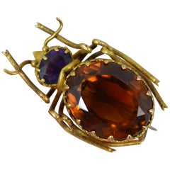 Victorian 15 Carat Gold Citrine and Amethyst Beetle Insect Brooch