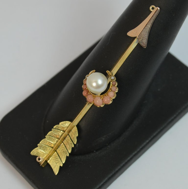 Victorian 15 Carat Gold Pearl and Coral Arrow Crescent Pendant For Sale 4