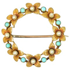 Victorian 15 Carat Gold Pearl Turquoise Flower Wreath Brooch