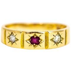 Victorian 15 Carat Gold Ruby and Diamond Three-Stone Ring