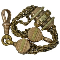 Victorian 15 Carat Gold Two-Tone Fancy Link Albertina Watch Chain Piece