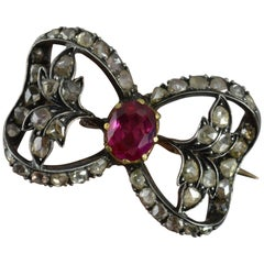 Victorian 15 Carat Rose Gold Ruby and Rose Cut Diamond Brooch
