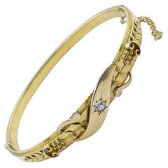 Victorian 15 Carat Yellow Gold and Diamond Bangle