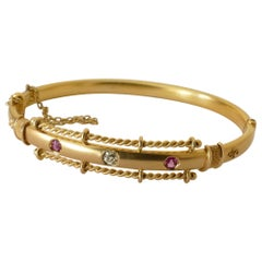 Victorian 15 Carat Yellow Gold Hinged Ruby and Diamond Bangle