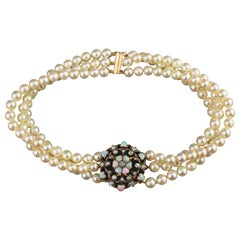Victorian 15 Karat Gold and Freshwater Pearl Necklace with Opals and Diamonds