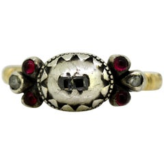Victorian 15 Karat Gold and Silver Ladies Ring with Diamonds and Rubies