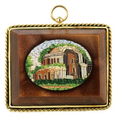 Victorian 15 Karat Gold Brooch / Pendant with Micro Mosaic Picture on Agate