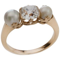 Victorian 15 Karat Gold Pearl and Diamond Ring