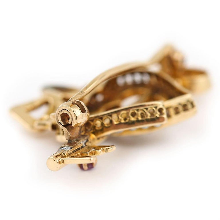 Victorian 15 Karat Gold Pearl Dual Sweet Heart, Ruby Key and Diamond Bow Brooch For Sale 3
