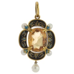 Victorian 15 Karat Gold Pendant with Citrine, Enamel and Pearls