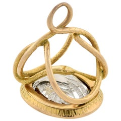 "Victorian 15 Karat Gold Rock Quartz Crystal ""Snake"" Intaglio Fob Pendant"