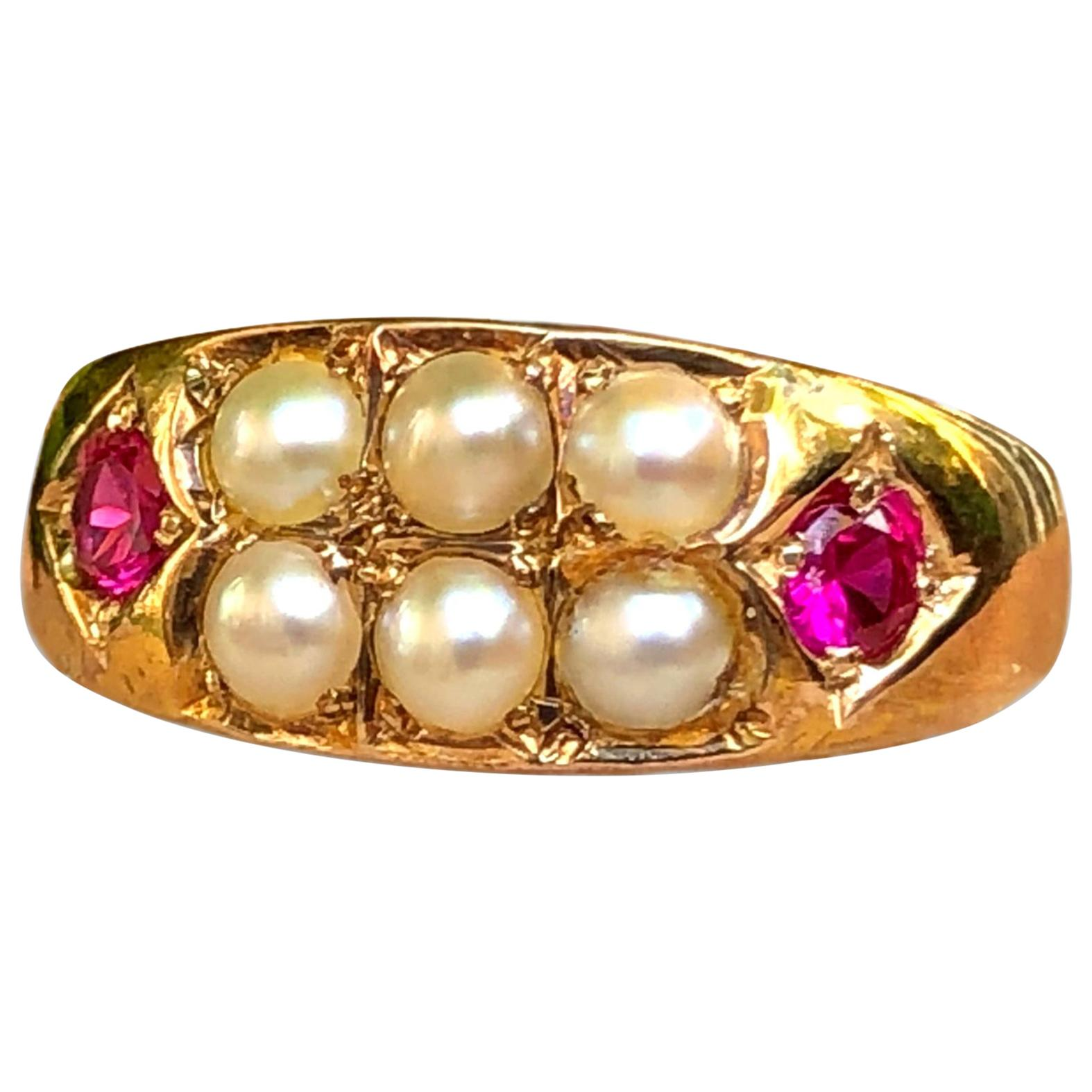 Victorian 15 Karat Gold Ruby and Pearl Antique Ring