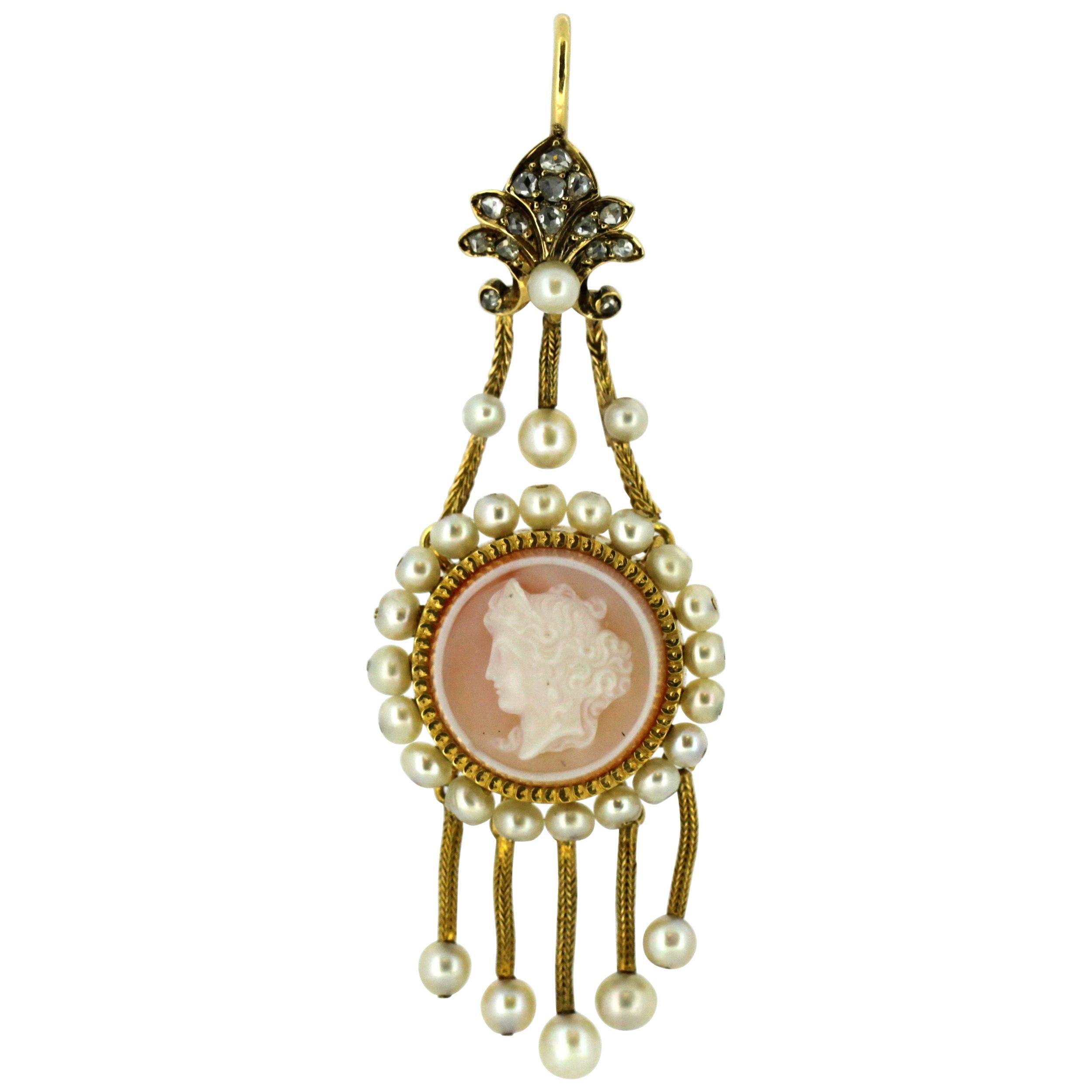 Victorian 15 Karat Gold Shell Cameo on Carnelian Pendant, Diamonds and Pearls