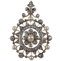 Victorian 15 Karat Gold, Silver, Diamond, and Pearl Pendant Brooch, circa 1880