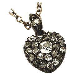 Victorian 15 Karat Gold Silver Old Mine Cut Diamond Heart Pendant Necklace