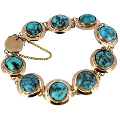 Victorian 15 Karat Rose Gold Ladies Bracelet with Natural Turquoise, circa 1880