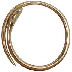 Victorian 15 Karat Rose Gold Serpent Snake Coil Band Ring