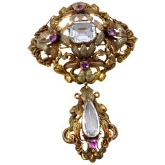 Victorian 15 Karat Two Color Gold Aquamarine and Pink Sapphire Brooch