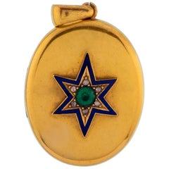 Victorian 15 Karat Yellow Gold Blue Enamel, Diamond, and Emerald Star Locket