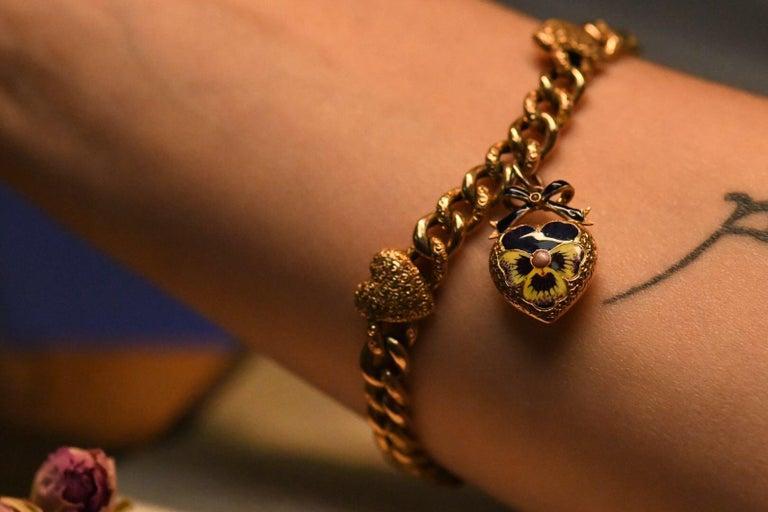 Victorian 15 Karat Yellow Gold & Enamel Pansy Bracelet For Sale 7