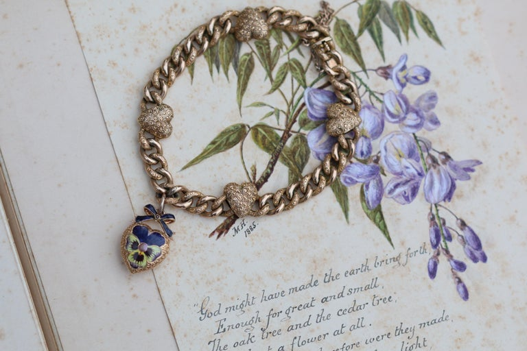 Women's or Men's Victorian 15 Karat Yellow Gold & Enamel Pansy Bracelet For Sale