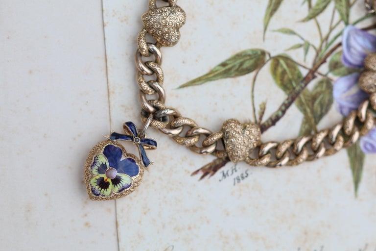 Victorian 15 Karat Yellow Gold & Enamel Pansy Bracelet For Sale 1