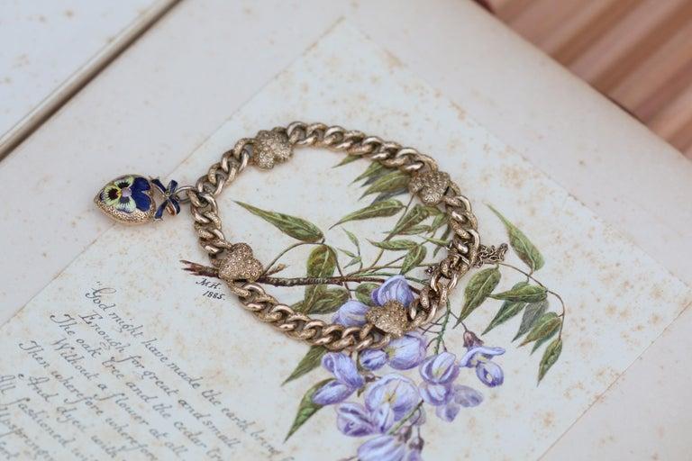Victorian 15 Karat Yellow Gold & Enamel Pansy Bracelet For Sale 2