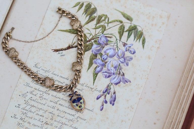 Victorian 15 Karat Yellow Gold & Enamel Pansy Bracelet For Sale 3