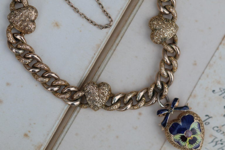 Victorian 15 Karat Yellow Gold & Enamel Pansy Bracelet For Sale 4