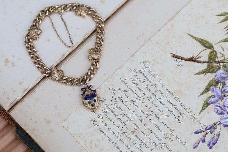 Victorian 15 Karat Yellow Gold & Enamel Pansy Bracelet For Sale 5