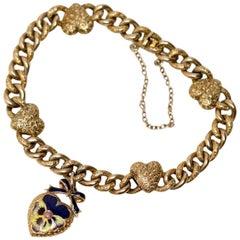 Victorian 15 Karat Yellow Gold & Enamel Pansy Bracelet