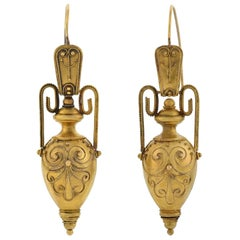 Victorian 15 Karat Yellow Gold Etruscan Hanging Gold Urn Earrings