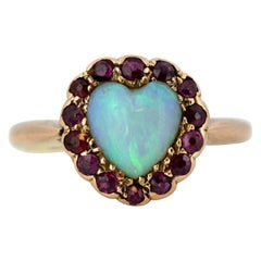 Victorian 15 Karat Yellow Gold Ladies Ring with Natural Opal and Rubies, 1860s