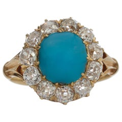 Victorian 15 Karat Yellow Gold Ladies Ring with Old Cut Diamonds and Turquoise