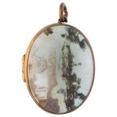 Victorian 15 Karat Yellow Gold Scottish Agate and Rock Crystal Locket