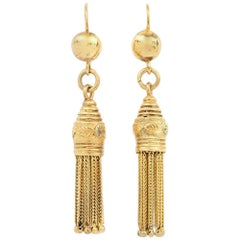 Victorian 15 Karat Yellow Gold Tassel Drop Earrings, circa 1860