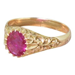 Victorian 1.50 Carat Natural Ruby Rose Gold Solitaire Ring
