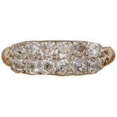 Victorian 1.50 Carat Old Mine Diamond Double Row 18 Karat Silver Rare Ring