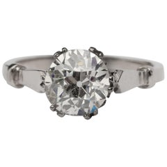 Victorian Style 1.58 Carat Old European Cut Diamond Solitaire Engagement Ring