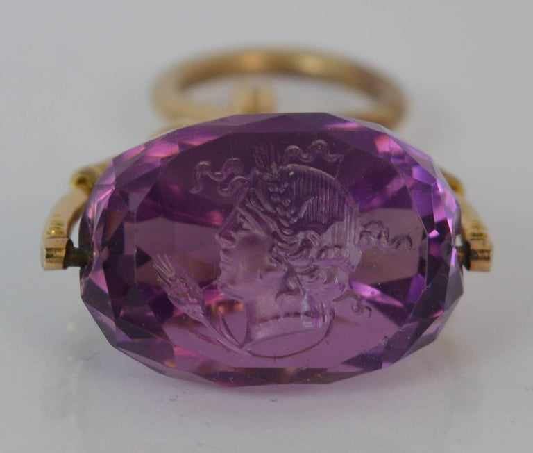 Women's or Men's Victorian 15 Carat Gold and Amethyst Intaglio Swivel Fob Pendant For Sale