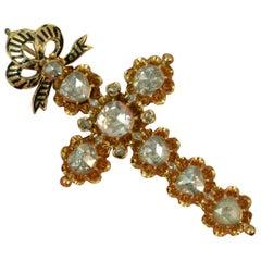 Victorian 15 Carat Gold 4 Carat Rose Cut Diamond Cross Pendant