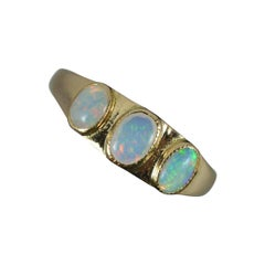 Victorian 15ct Gold and Natural Opal Trilogy Ring