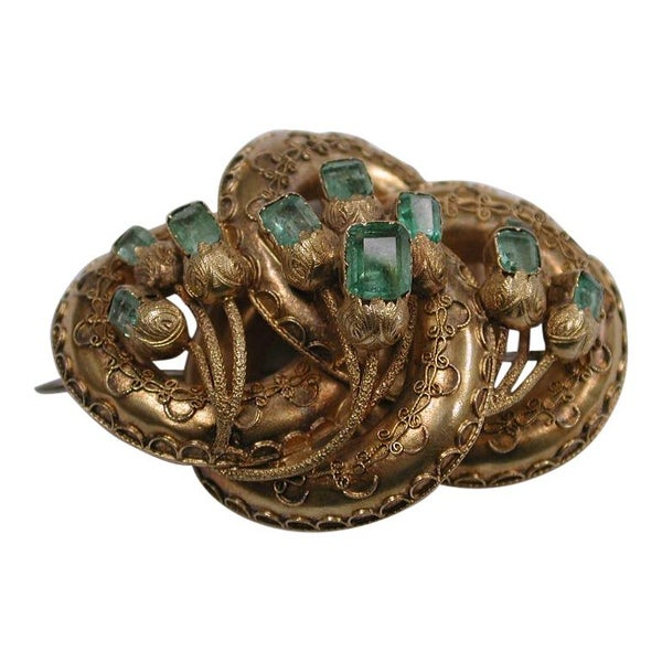 Victorian 15ct Gold Etruscian Style Brooch Set with Emeralds, Dated circa 1860