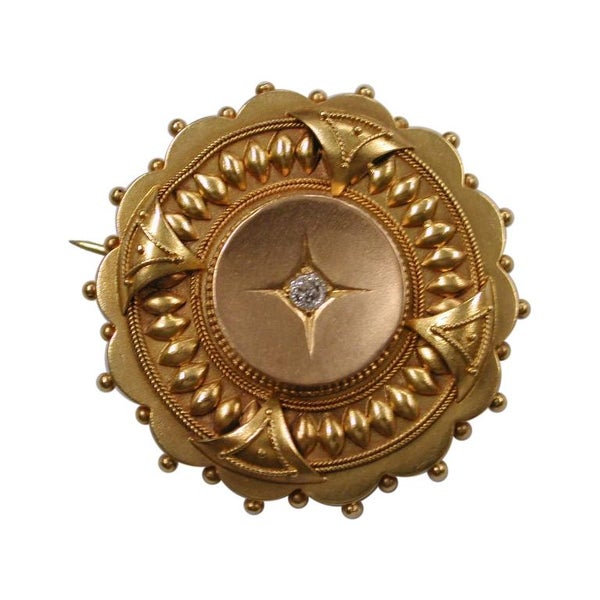 Victorian 15ct Gold Etruscian Style Brooch Set with Old Cut Diamond, circa 1870