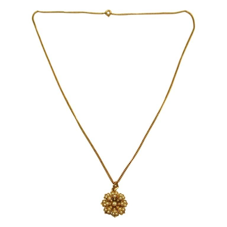 Victorian 15ct Gold Multi Seed-Pearl Pendant, c. 1880 on Later 9ct Gold Chain