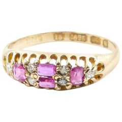 Victorian 15 Carat Rose Gold Hallmarked Ruby and Diamond Bridge Ring