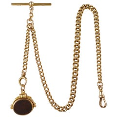 Victorian 15K Gold Albert Watch Chain with Bloodstone & Carnelian Fob, 49.7grams